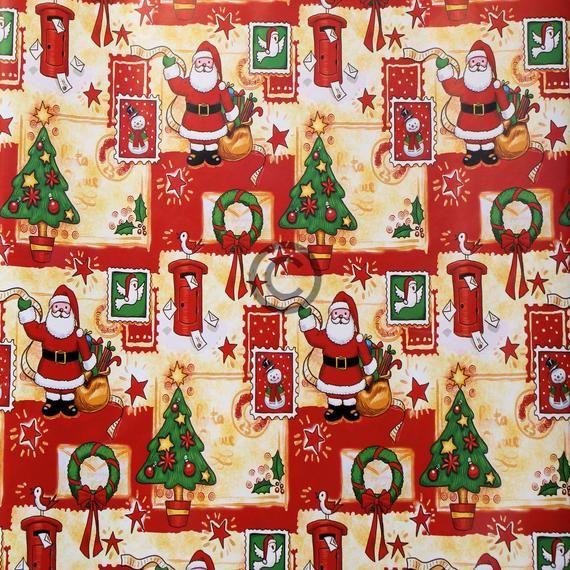 Printable Christmas Wrapping Paper Digital Image Download Santa and his toy bag 300 DPI