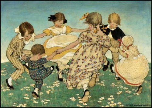 """1918 Jessie Wilcox Smith ~ Jessie Wilcox Smith's Mother Goose, """"Ring Around the Rosy"""""""