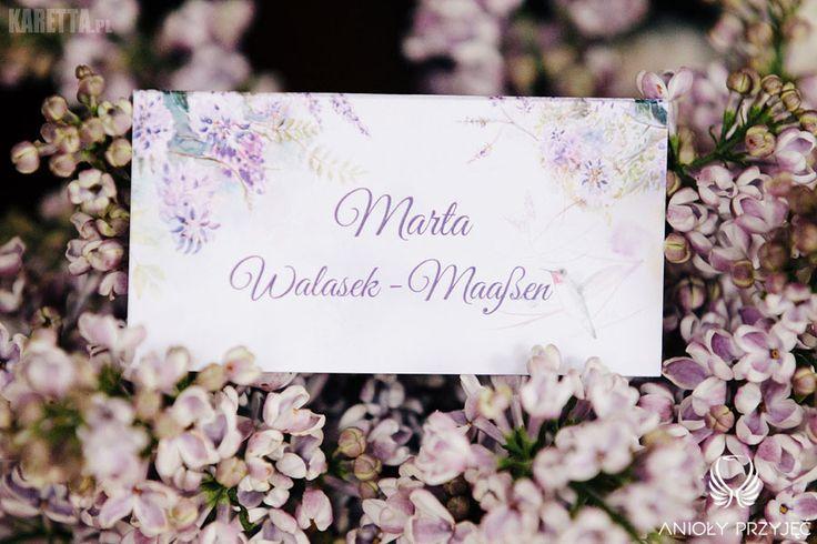 2. Lilac Wedding,Place card / Wesele z bzem,Winietka,Anioły Przyjęć