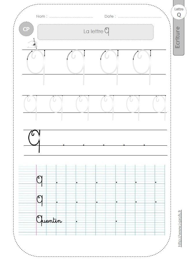 la lettre Q majuscule au CP:FICHES d'ECRITURE. Modèles d'écriture