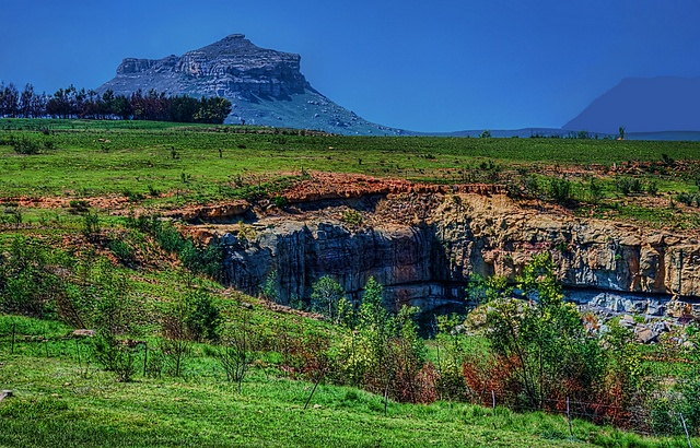 rocks and the mountains a landscape of the drakensberg mountains  kwazulunatal south africa processed