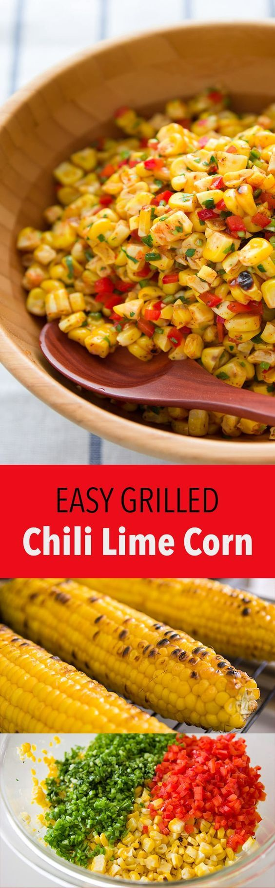 Fire roasted corn with a spicy tangy chili lime dressing. This corn salad makes for a delicious side or salsa for a Tex-Mex feast.