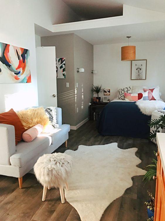 Small E Decor Ideas In A Studio Apartment Therapy