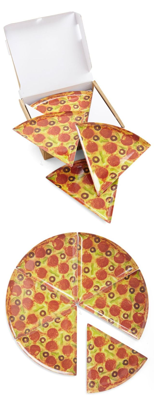 Pizza Slice Plates – Set of 6: Make eating pizza more delicious than ever! #pizza #plates - www.MyWonderList.com