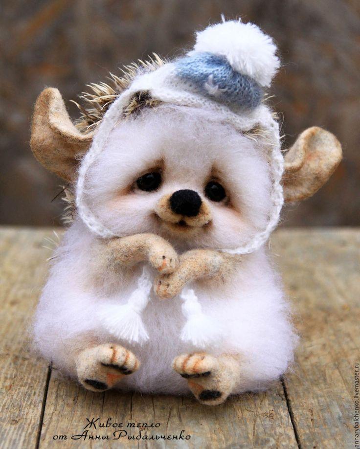 Купить Лапушка - белый, ежик, еж, ежики, ежик из шерсти, ежик валяный, ежик игрушка