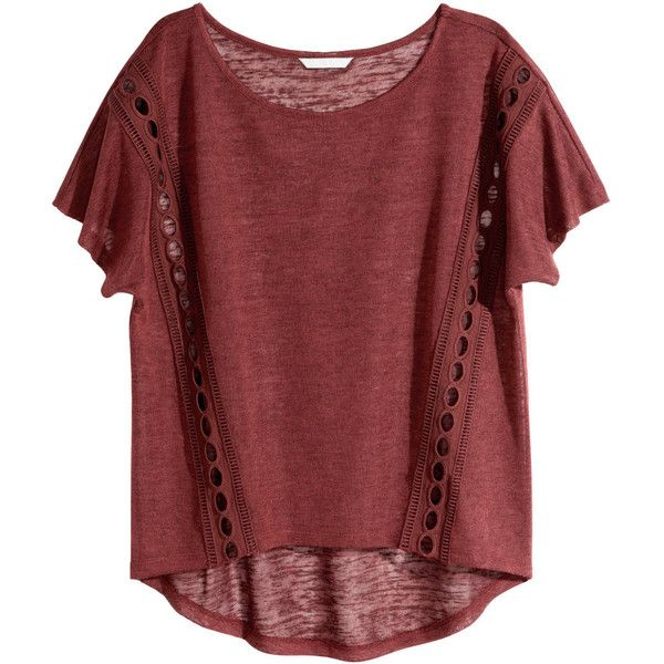 H&M Top with lace details ($9.74) ❤ liked on Polyvore featuring tops, t-shirts, shirts, t shirts, dark red, dark red shirt, lace trim top, short-sleeve shirt, short sleeve shirts and red t shirt