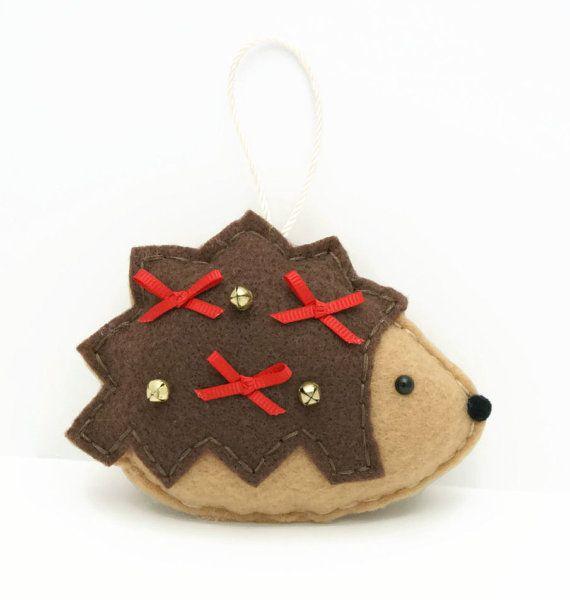 Jingle Bell Hedgehog Felt Christmas Ornament / Felt Hedgehog Ornament / Ready to Ship