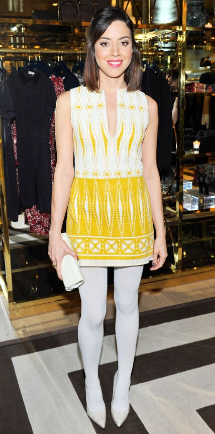 21 Chic Celebrity Looks That Have Us Saying Yes to Tights - Aubrey Plaza from #InStyle