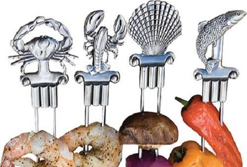 Shish Kabob Skewers Coastal Double Prong Stainless Steel Bbq Grill Shrimp Barbie