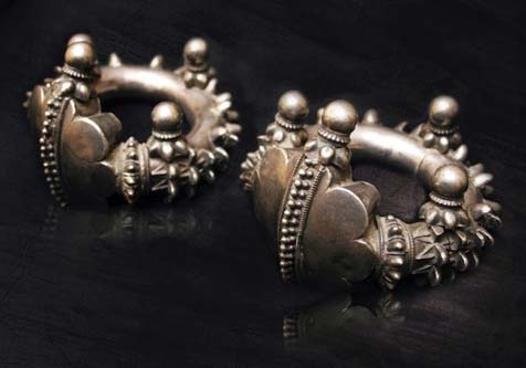 India | Vintage Adavasi Hollow Anklet Set.  Silver, exact content unknown.