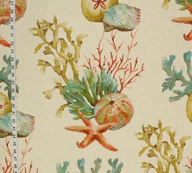 Coral fabric sand dollar seashell, starfish reef from Brick House Fabric: Novelty Fabric
