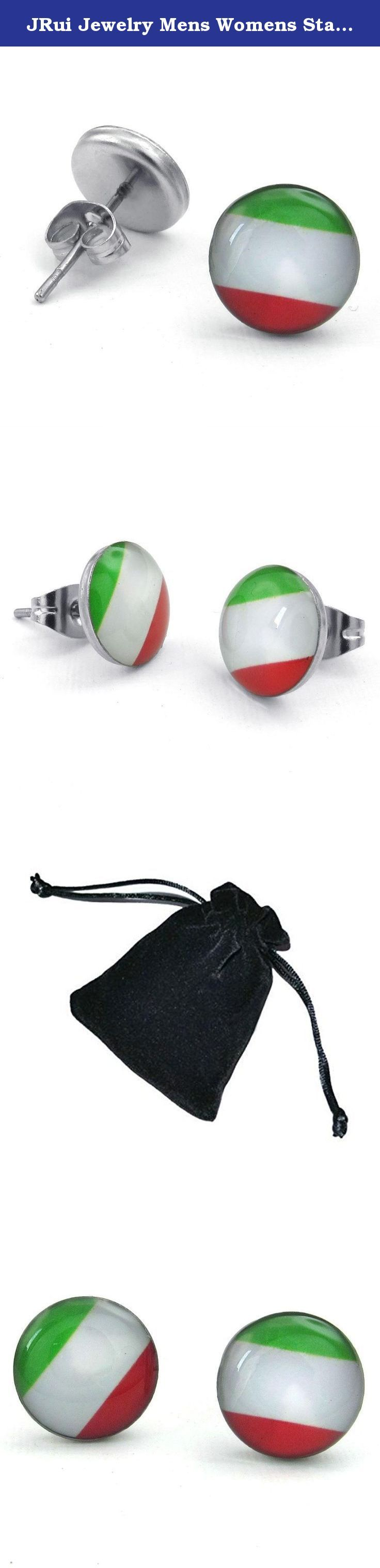 JRui Jewelry Mens Womens Stainless Steel Italy Flag Italian Banner Stud Earrings, Green White Red. Why choose Stainless Steel Jewelry? Stainless Steel jewelry does not tarnish and oxidize, which can last longer than other jewelries. It is able to endure a lot of wear and tear. And it is amazingly hypoallergenic. Such advantages make it a more popular accessory. Why need Stainless Steel Jewelry? High quality stainless steel has high resistance to rust, corrosion and tarnishing, which…