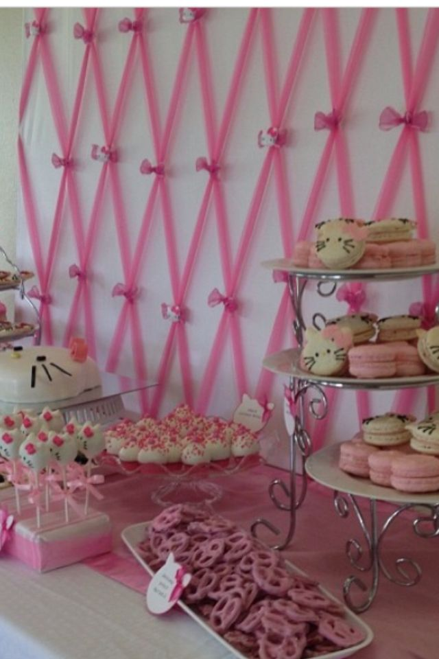 backdrop for hello kitty baby shower dessert tablekitty deserts baby