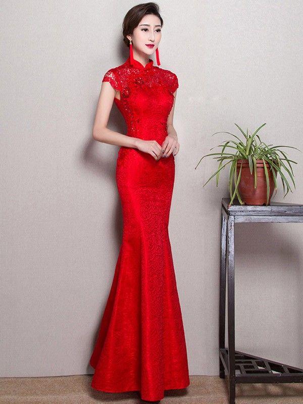 Red Fishtail Qipao Cheongsam Wedding Dress