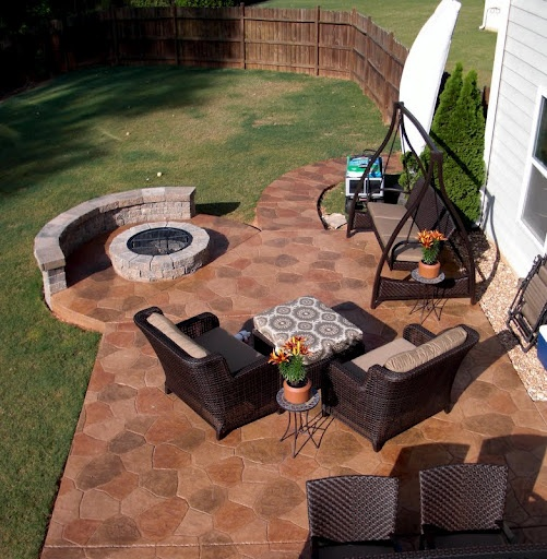 Ciccozzi Stamped Patio, Fire Pit And Knee Wall