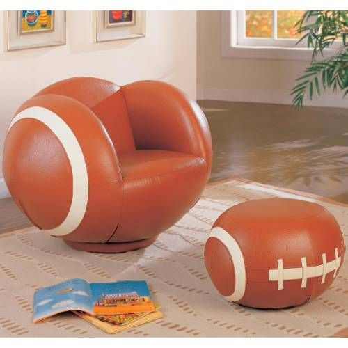 Coaster Furniture 460189 Large Kids Football Chair and Ottoman