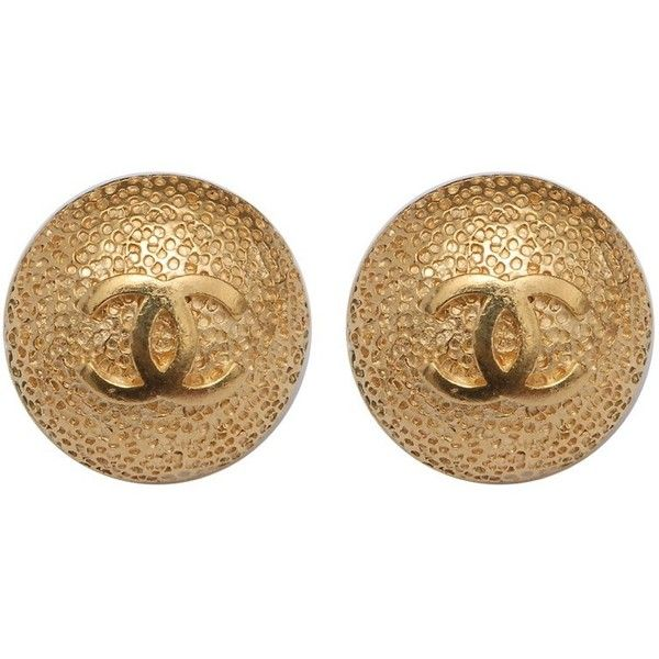 CHANEL VINTAGE Hammer Chanel Logo Earrings ❤ liked on Polyvore