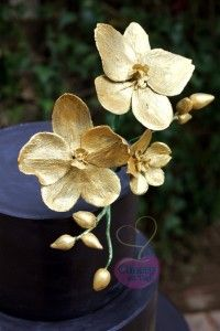 black gold orchid cake