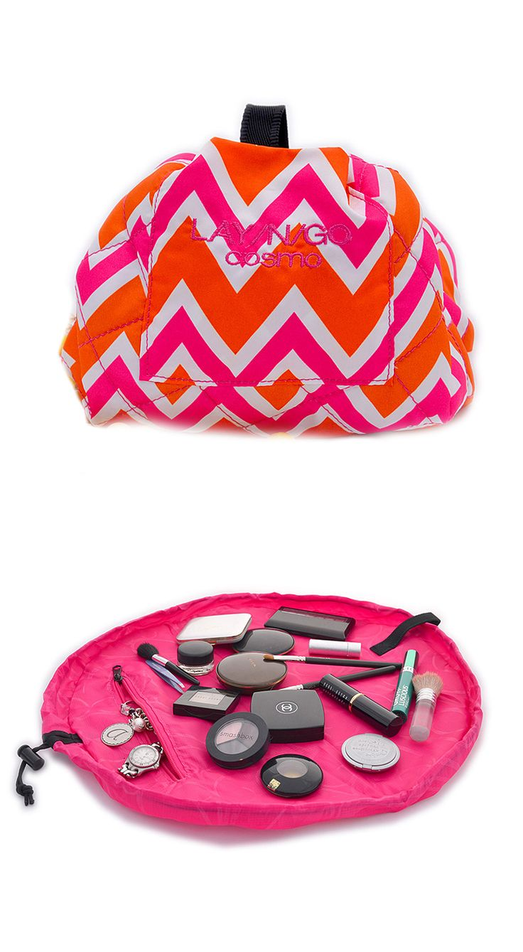 Lay-N-Go Cosmetic Bag - unfolds to a mat and cinches up to store. Great for travel.