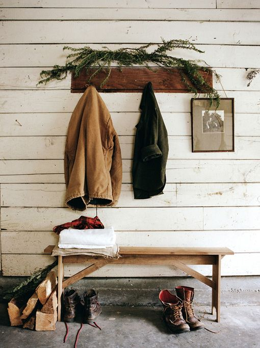 .: Houses, Benches, Home Interiors, Coats Racks, Mudrooms, Mud Rooms, Cabins, Rustic Entryway, Kinfolk Magazines