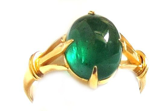 GR 57 Emerald Cabochion and Gold Ring. by HatiKuJewelry on Etsy