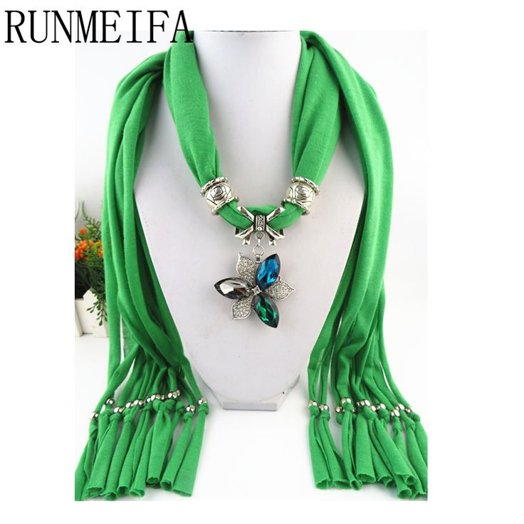 >> Click to Buy << [RUNMEIFA]    fashion Lady beads chain flower pendant scarf necklace charm woman girls ornament accessories wholesale scarves #Affiliate