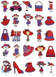 Red Hatter Business Cards | Red Hat Society Return Address Labels Favor Tags Gift Buy 3 Get 1 Free ...