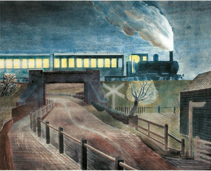 Train Going over a Bridge at Night Print by Eric Ravilious