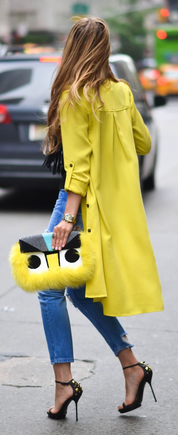 Yellow Trench Casual Chic Streetstyle
