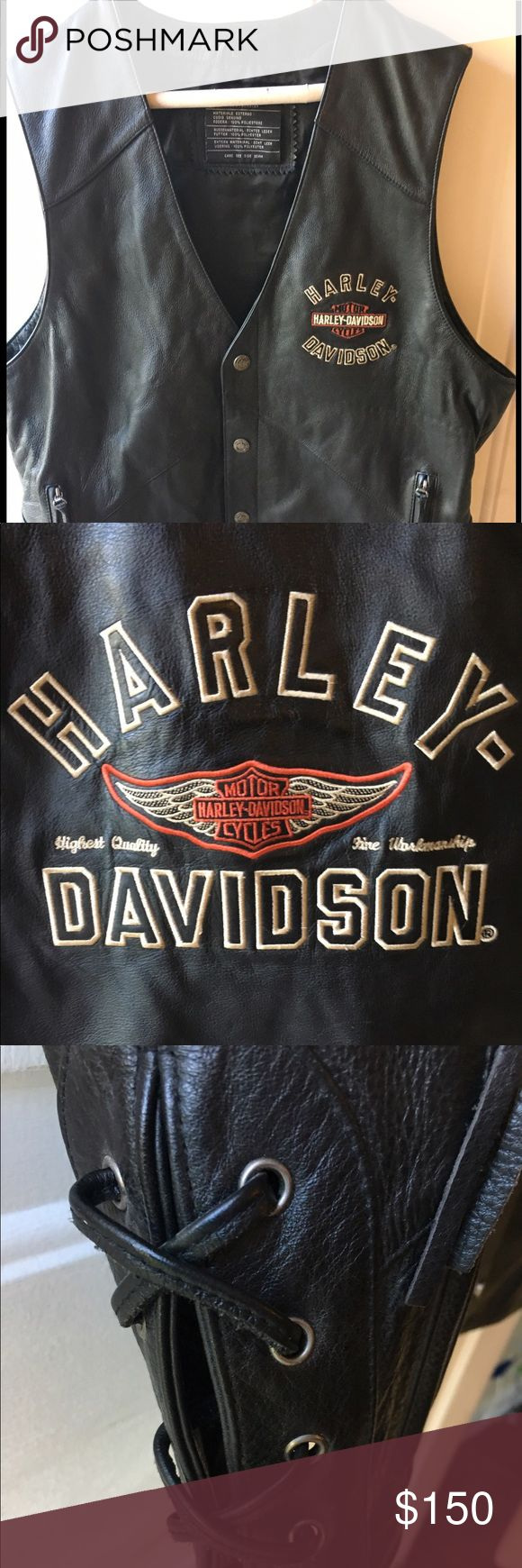Men's Genuine Leather Harley Vest Never been worn. Has been stored in s suit bag. Excellent condition and perfect for Harley Davidson lovers. Will not be disappointed! Harley-Davidson Jackets & Coats Vests