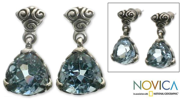 Silver Blue Topaz 'Mystic Trinity' Dangle Earrings (Indonesia) - Overstock™ Shopping - Great Deals on Novica Earrings