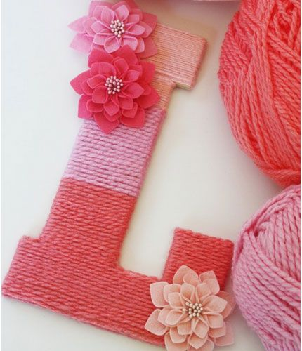 Click Pic for 28 Baby Shower Ideas for Girls - Yarn Wrapped Ombre Monogrammed Letter | Baby Shower Themes for Girls