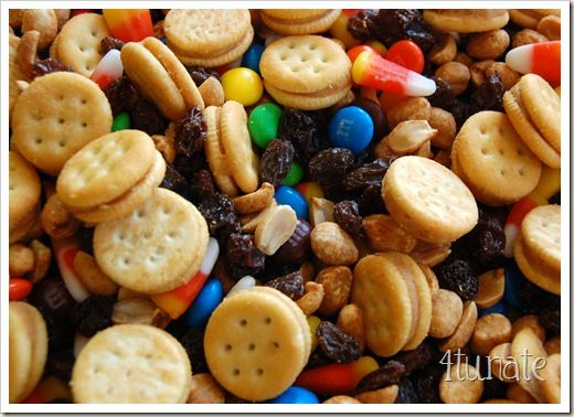Festive Fall Snack Mix:    Ingredients:   ~ 1 Box of Ritz Mini Peanut Butter Sandwich Crackers  ~ 1 Small Box of Sunmaid Raisins   ~ 1 Bag of Candy Corn  ~ 1 Bag of Plain M&M;'s  ~ 1 Jar of Lightly Salted Dry Roasted Peanuts  Mix together in a large bowl.  (The small ingredients tend to sink to the bottom, so give them a little boost to the top.)
