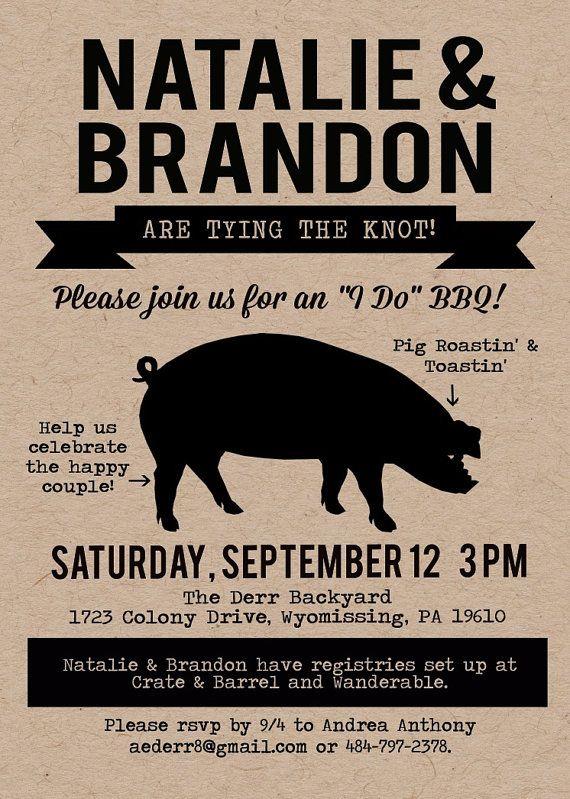 Pig Roast Invitation, I Do BBQ, Pig Roast Party, BBQ Invitation, Couple Shower Invitation, Made to Match, Kraft Invitation