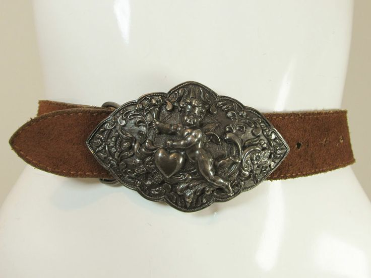 Vintage Cameron's rust brown suede leather belt cupid cherub buckle S/M R11914