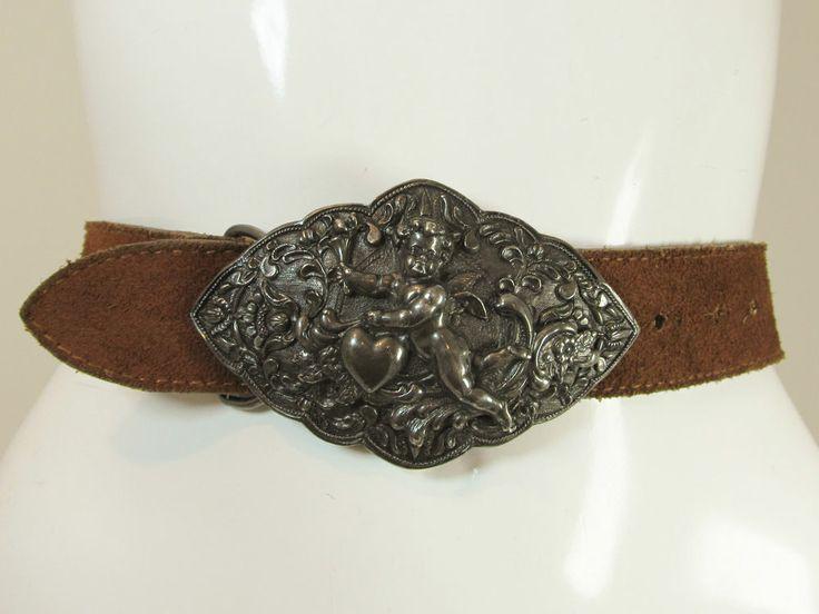 Vintage Cameron's rust brown suede leather belt cupid cherub buckle S/M R11914