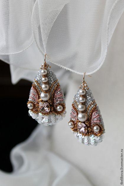 Серьги Ser 2014-8 - серьги,вышивка,Вышивка бисером,серьги с кристаллами