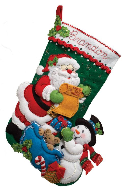 Santa and His List Large Bucilla Stocking Large