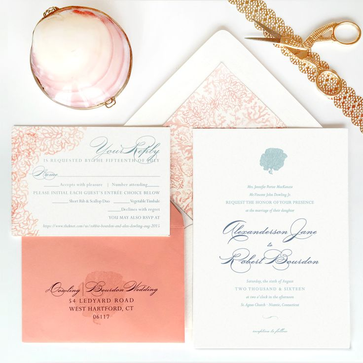 INCLUDES Invitation printed on your choice of our heaviest papers  + Matching color or metallic envelope with liner and printed flap Reply Card  + Matching color or metallic envelope with printed reply address PAPER GOODS Matching cards & paper accessories available. See wedding day items here