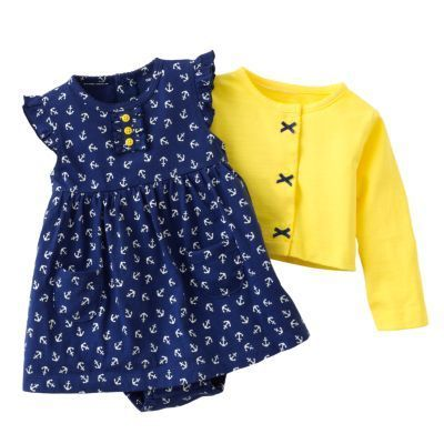 baby clothes ..I can't! how stinkin' cute is this dress + cardigan set?