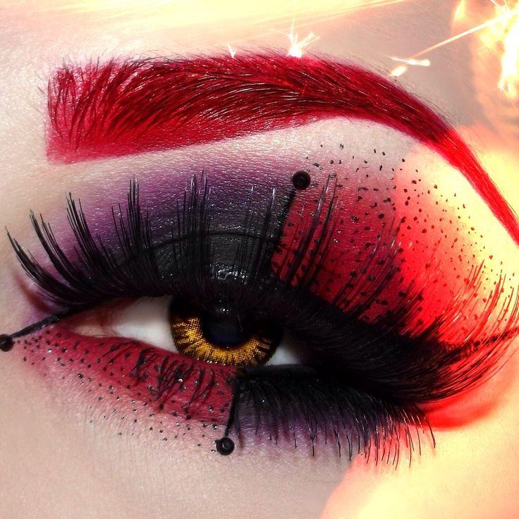 Black, purple and red dramatic eyeshadow