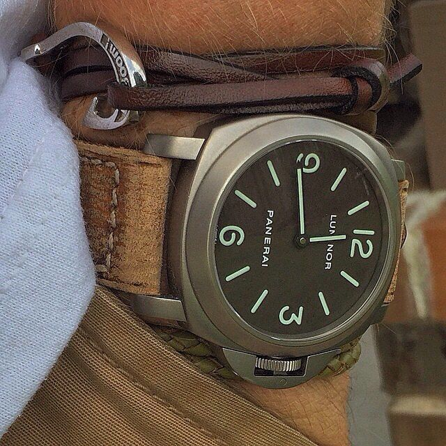 A base dial is a thing of beauty. It's even nicer in Titanium with a Tobacco dial like this #Panerai PAM116 paired with the @laboomdesign leather hook bracelet. Pic by @bzabodyn214 #PaneraiCentral