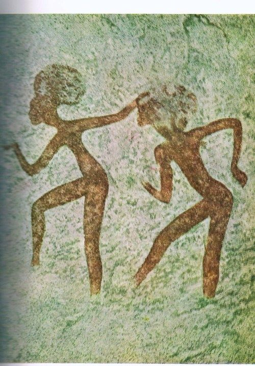 Prehistoric Rock Painting  --  Hoggar Mountains, Sahara  --  10,000 BCE