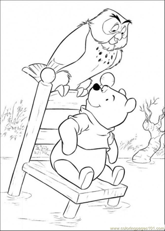 owl coloring pages free printables | free printable coloring page Pooh And Owl In Lake (Cartoons > Winnie ...