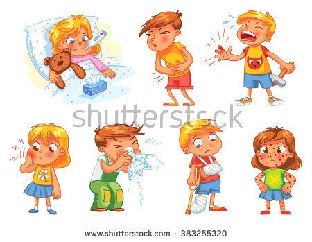 Children get sick. Child has high temperature. Boy hit with hammer on finger. Toothache. Boy's stomach ache. Girl's body rash. Broken limbs. Cold in head. Funny cartoon character. Vector illustration