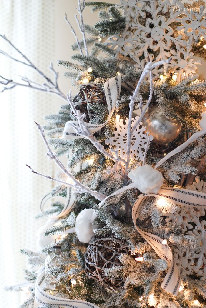Winter Wonderland Christmas Tree. Frosted twigs, big wooden snowflakes, Mercury glass ornaments, twig balls.