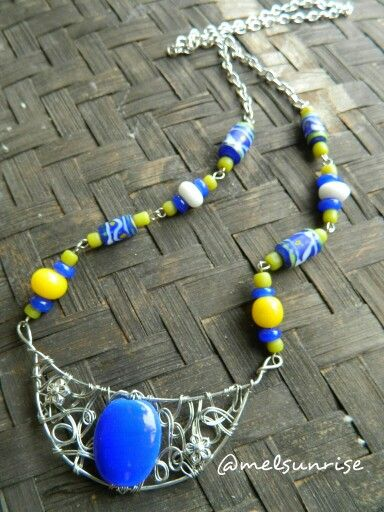 Tinned cooper wirework with javabeads.