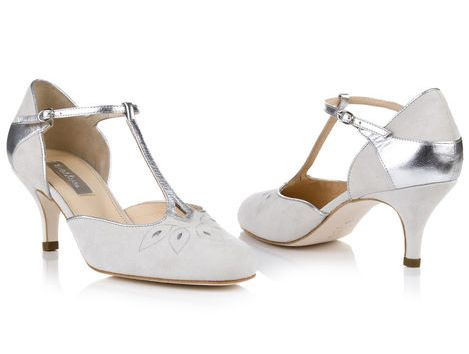 """Elodie by Rachel Simpson Ivory Suede with silver beaded trim. Full sizes heel height 3.2"""""""