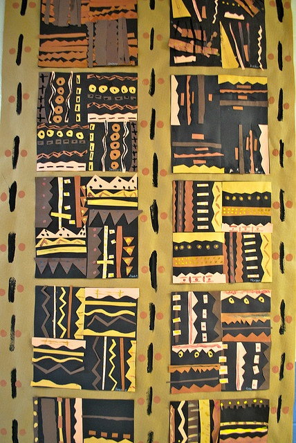 "Bogolanfini or ""Mud Cloth"" in paper. This artform is indigenous to the Bamana, a Mande speaking people of Mali, Africa. Also, see an educational resource about this topic at"
