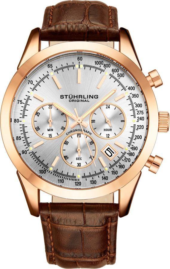 639444783 Stuhrling Men's 3975L Japanese Quartz Chronograph Date Watch Genuine  leather #Japanese#apos#Stuhrling